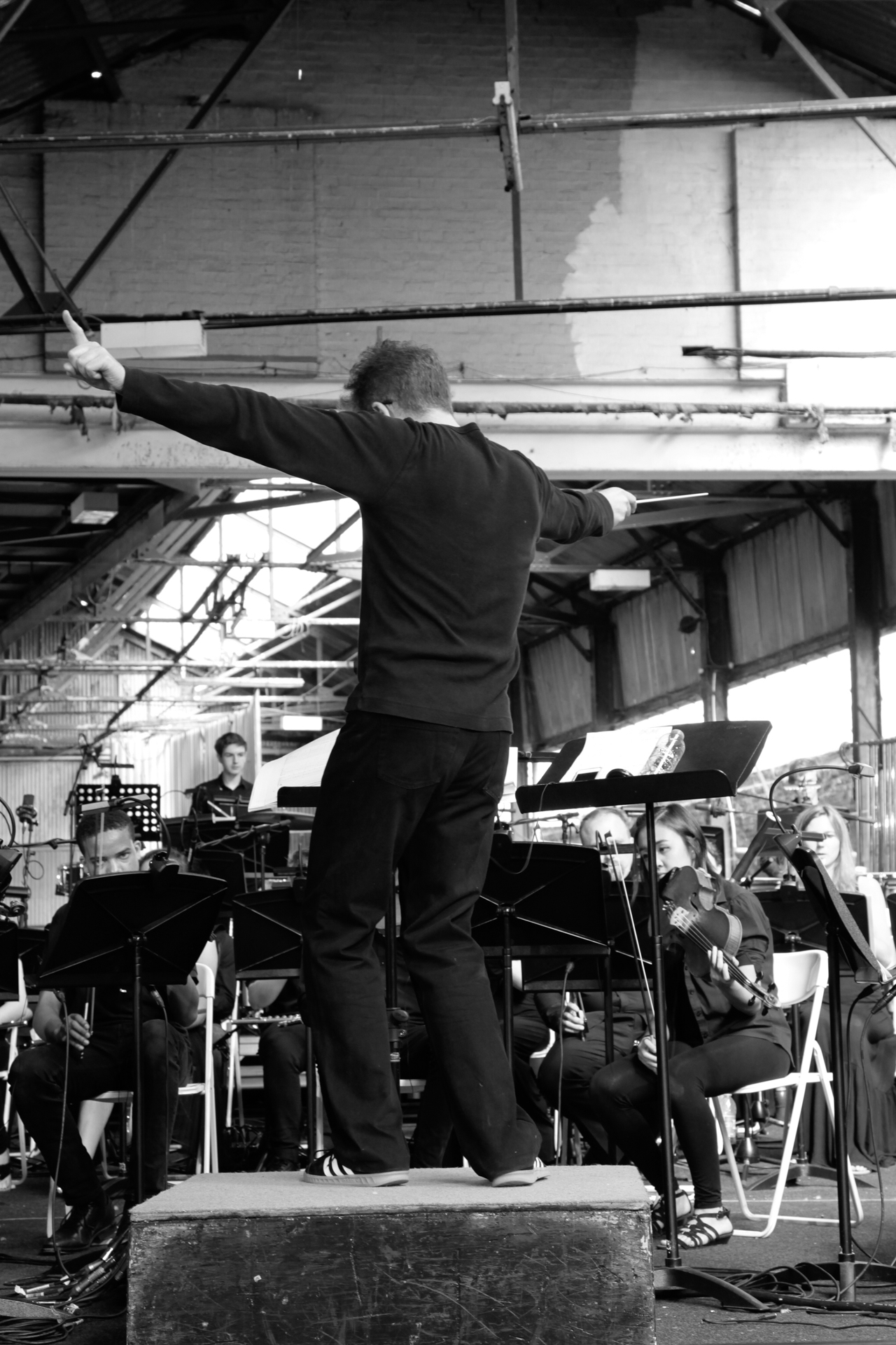 conductor Robin Browning during Grown - A Grime Opera