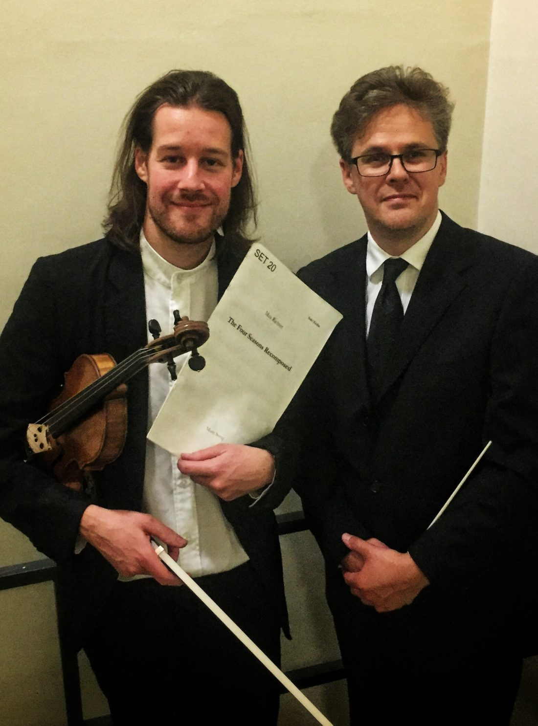 Violinist Thomas Gould with conductor Robin Browning backstage in Turner Sims, Southampton